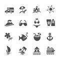 Travel and summer beach icon set 2, vector eps10 Royalty Free Stock Photo