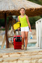 Travel summer holidays direction summer resort beatifula girl on Royalty Free Stock Image
