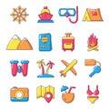Travel summer icons set, cartoon style