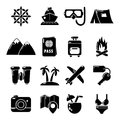 Travel summer icons set, simple style