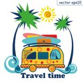 Travel summer van vector poster. surfing and travelling