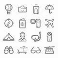 Travel symbol line icon set on white background vector illustration Stock Photo