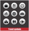 Travel symbols vector set circles isolated Royalty Free Stock Image