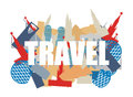 Travel. Text on background silhouettes attractions of countries.