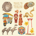Travel Thailand landmarks set. Thai vector icons. Royalty Free Stock Photo