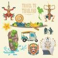 Travel Thailand landmarks set. Thai vector icons. Royalty Free Stock Photo