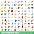 100 travel time icons set, isometric 3d style