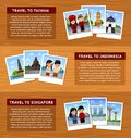 Travel to Asia. Set of horizontal web banners with place for text.