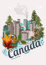 Travel to Canada. Canadian vector illustration. Vintage style. Travel postcard. Royalty Free Stock Photo