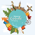 Travel to Canada. Light design. Circle shape. Canadian vector illustration. Retro style. Travel postcard. Royalty Free Stock Photo
