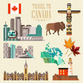Travel to Canada. Light design. Set with canadian cities. Canadian vector illustration. Retro style. Travel postcard.