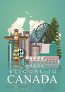 Travel to Canada. Postcard. Canadian vector illustration. Mirror effect. Retro style. Travel postcard.
