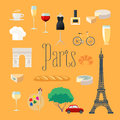 Travel to France, Paris vector icons set Royalty Free Stock Photo