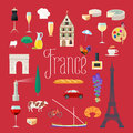 Travel to France vector icons set Royalty Free Stock Photo