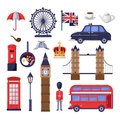 Travel to Great Britain design elements. London tourist landmarks illustration. Vector cartoon isolated icons set.