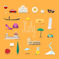 Travel to Italy vector icons set. Italian landmarks, cathedral, gandola Royalty Free Stock Photo