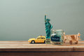 Travel to New York, USA concept with Statue of Liberty souvenir. Planning summer vacation, Royalty Free Stock Photo