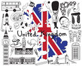 Travel to United kingdom England and Scotland doodle icon