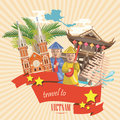Travel to Vietnam card with pagoda, temple and yellow stars Royalty Free Stock Photo