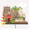 Travel to Vietnam card with pagoda and vietnamese woman Royalty Free Stock Photo