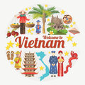 Travel to Vietnam card with vietnamese ethnic icons Royalty Free Stock Photo