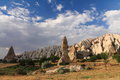 Travel to visit wonderful serie of troglodytes in love valley in blue sky, cappadocia, turkey Royalty Free Stock Photo