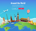 Travel to World. Road trip. Tourism. Landmarks on the globe. Concept website template. Vector