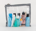 Travel Toiletries in Clear Plastic Bag Royalty Free Stock Photo