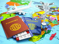 Travel or tourism concept. Passport, airplane, airtickets and de Royalty Free Stock Photo