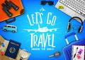 Travel or Tourism Concept with Text Let`s Go Travel Message in the Center with Realistic 3D Traveling