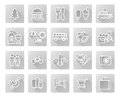 Travel and tourism icon set including icons for nightlife museums dining beaches may more Royalty Free Stock Image