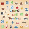 Travel and tourism icons set of Stock Photo
