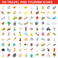 100 travel and tourism icons set, isometric style Royalty Free Stock Photo