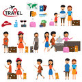 Travel and tourism infographic elements and icon set. The people