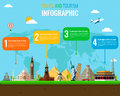 Travel and Tourism. Infographic set with landmarks. Vector
