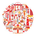 Travel and tourism isolated round vector illustration on white background graphic art design Royalty Free Stock Image