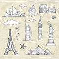 Travel and tourism labels collection vector hand drawn illustration Stock Images