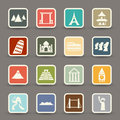 Travel and tourism locations icons illustration of Stock Photos