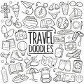 Travel Tourism Traditional Doodle Icons Sketch Hand Made Design Vector
