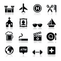 Travel tourism and transport icons set -  Royalty Free Stock Photos