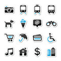 Travel tourism and transport icons set - vector Stock Photos