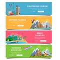 Travel tourism type banner flat style vector set Royalty Free Stock Photo