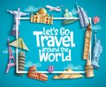 Travel and tourism vector banner design with boarder frame, travel text and famous landmarks and tourist destination elements