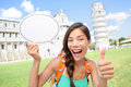 Travel tourist girl showing sign in Pisa, Italy Royalty Free Stock Photography