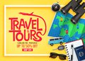 Travel and Tours Ads Banner Up To 50% Off Exclusive Package with Vector 3D Realistic Traveling Item Royalty Free Stock Photo