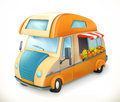 Travel trailer. Camping, vector icon