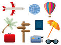 Travel and transportation icons Stock Photography