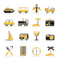 Travel, transportation, tourism and holiday icons Royalty Free Stock Images