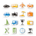 Travel, transportation, tourism and holiday icons Stock Image