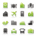 Travel transportation and vacation icons vector icon set Royalty Free Stock Image